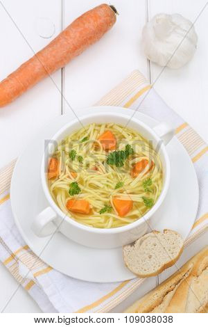 Noodle Soup In Cup With Noodles And Baguette