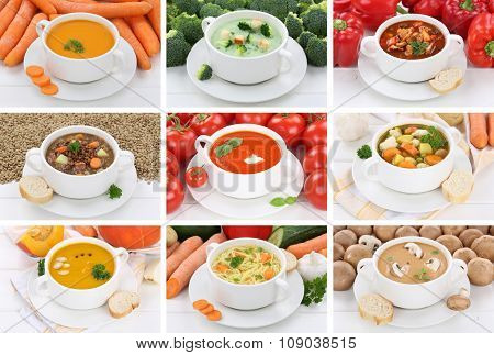 Collection Of Soups Soup In Bowl Tomato Vegetable Noodle