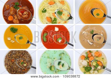 Collection Of Eating Soups Soup In Cup Tomato Vegetable Noodle On Spoon