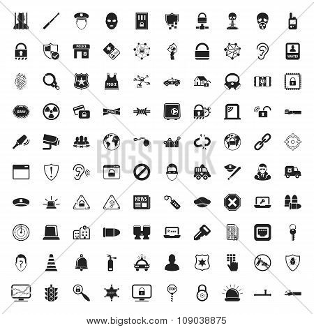 Security 100  Icons Set For Web
