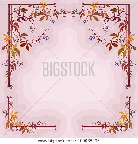 Autumn wild grape branches and leaves in pastel background.