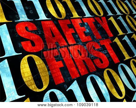 Safety concept: Safety First on Digital background
