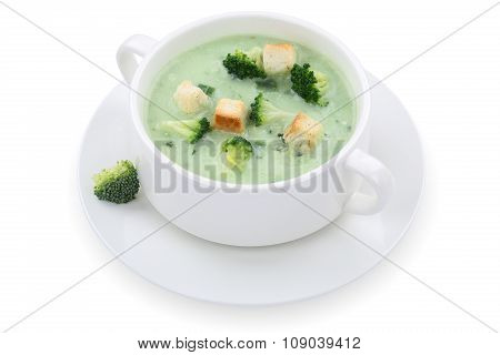 Broccoli Soup In Bowl Isolated