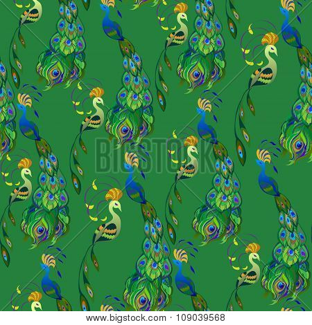 Peacock birds. Beautiful green seamless pattern background. Vector illustration.