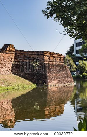 the reflection of the old city wall