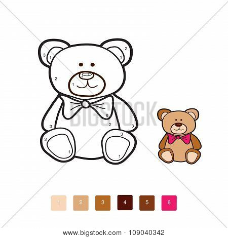 Bear Coloring By Number