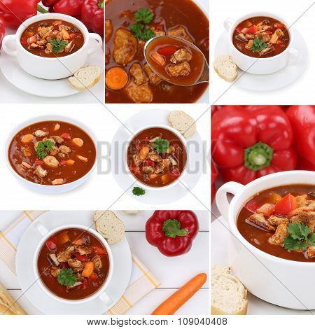 Collection Of 7 Goulash Soups With Meat And Paprika In Bowl