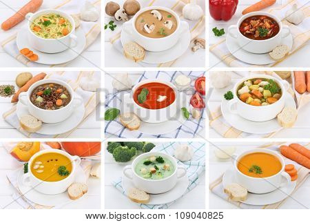 Collection Of 9 Soups In Bowls