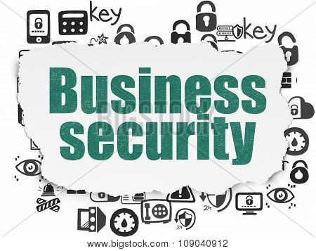 Safety concept: Business Security on Torn Paper background
