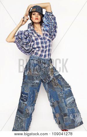 Sexy model posing in the studio photo shoot