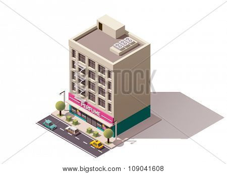 Isometric icon representing building with perfume store