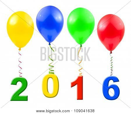 Balloons and 2016 isolated on white background