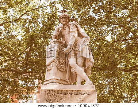 Retro Looking Shakespeare Statue In London
