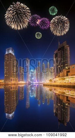 Beautiful Fireworks In Dubai Marina. Uae