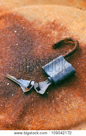 Old Padlock And Keys