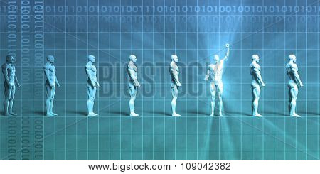 Leadership Abstract Background with Man Pumping Fist in Triumph