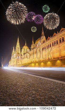 Beautiful Fireworks Under Hungarian Parliament