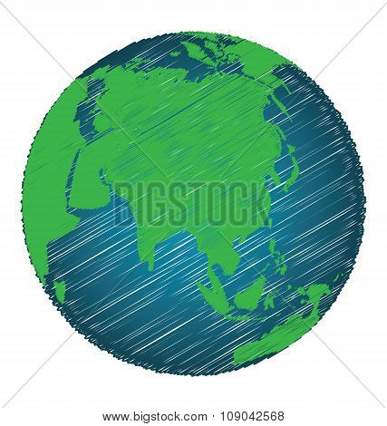 Earth Sketch Hand Draw Focus Asia Continent