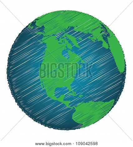 Earth Sketch Hand Draw Focus North America Continent