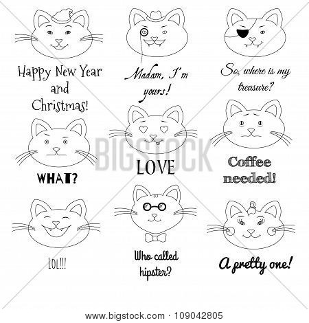 Cute cat set. Grumpy, pirate, sir, girl, santa, in love, laughing, hipster, sad cats illustrations w