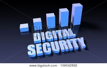 Digital security graph chart in 3d on blue and black