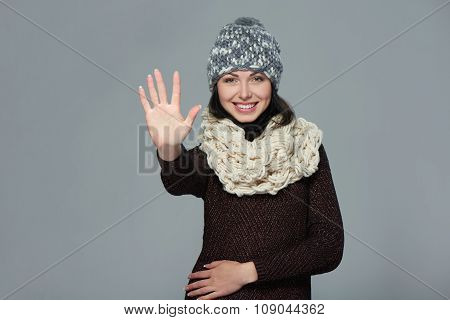 Woman giving high five gesture