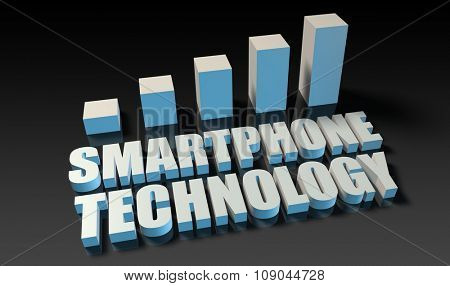 Smartphone technology graph chart in 3d on blue and black