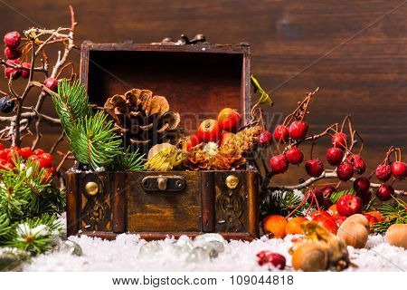Christmas Winter Composition With Chest, Apple, Nuts, Cones, Berries, Fir Tree And Snow, Closeup