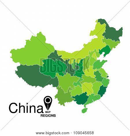 China Green Map Detailed Vector