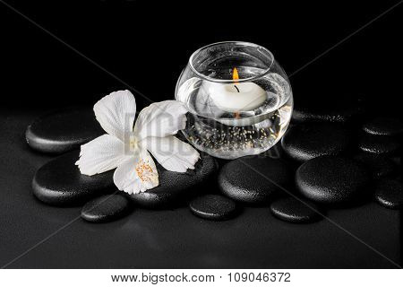 Beautiful Spa Concept Of Dew White Hibiscus Flower And Candles In Vase With Water On Zen Stones, Clo