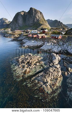 Red Fishing Hut (rorbu) On The Hamnoy Island, Norway