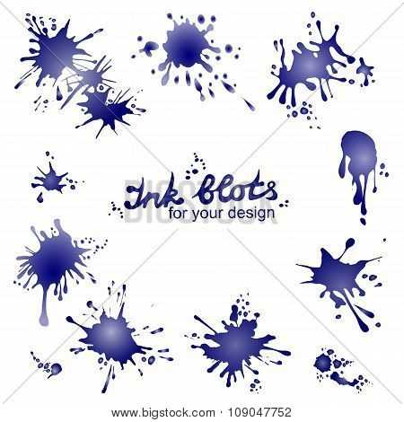 Vector set of ink blots
