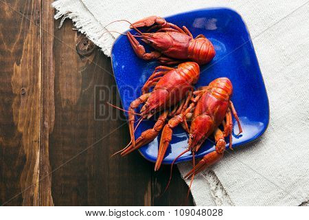 Plate With Red Boiled Crayfishes