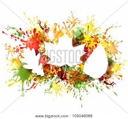 Autumn leaves on colorful blots background.