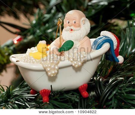 Santa Taking a Bath
