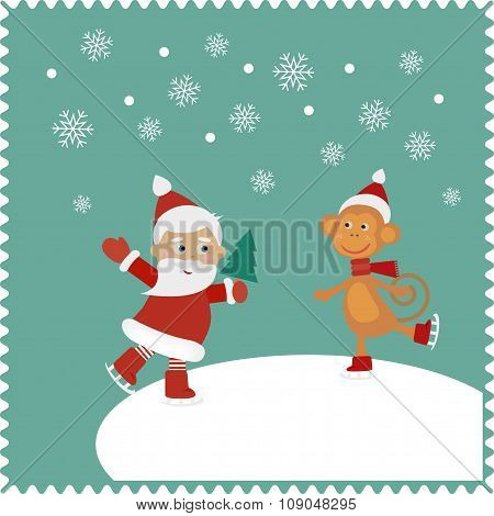 Greeting card with happy Santa and monkey skates
