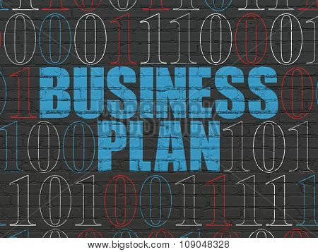 Finance concept: Business Plan on wall background