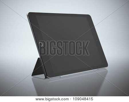 Black modern tablet with blank screen