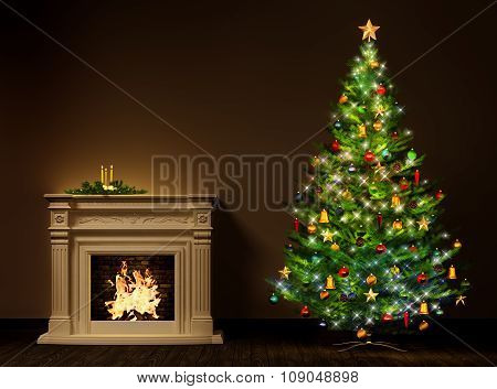 Christmas Night Interior 3D Rendering