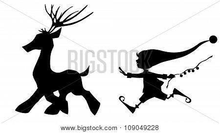 Black silhouette running deer and cute Christmas elf on white