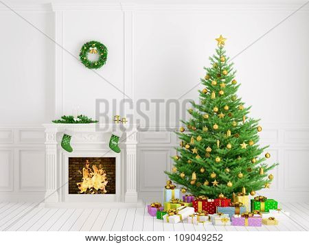 Classic Interior With Christmas Tree And Fireplace 3D Rendering