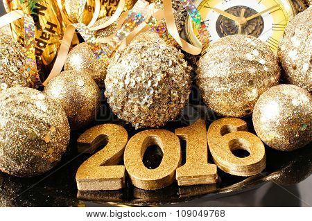 New Years Eve 2016 golden numbers and decorations