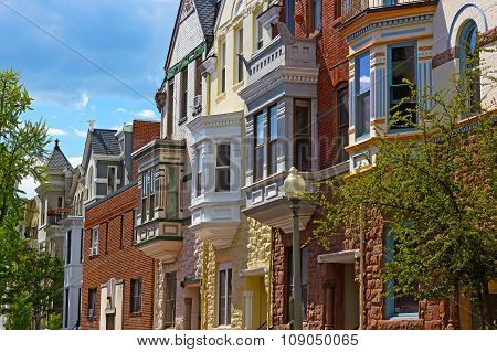 Luxury townhouses of US capital in spring.