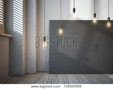 Blank black canvas with glowing bulbs in the loft interior.