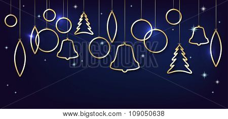 Christmas Card With Abstract Shiny Golden Christmas Balls