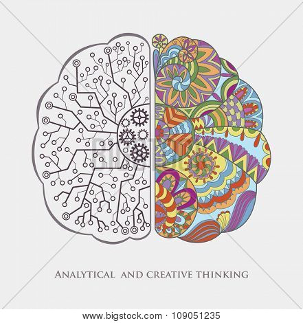 Conceptual Background with Analytical and Creative Thinking. Human Brain in the Work. Abstract Vector Graphic.