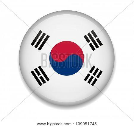 South Korea Button Flag
