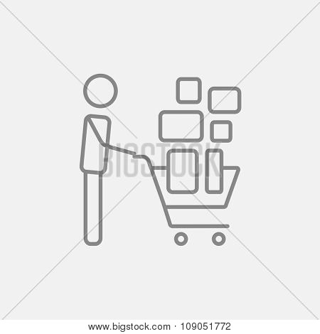 Man pushing shopping cart with boxes line icon for web, mobile and infographics. Vector dark grey icon isolated on light grey background.