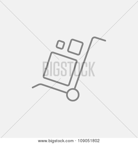 Shopping handling trolley with boxes line icon for web, mobile and infographics. Vector dark grey icon isolated on light grey background.
