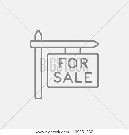For sale signboard line icon for web, mobile and infographics. Vector dark grey icon isolated on light grey background.